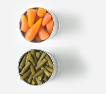 Tins of vegetables