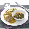Coconut and Mango Chicken with Aloo Saag and Rice