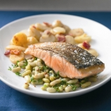 Crisp Salmon with Minted Broad Bean Salad