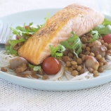 Pan Fried Salmon on Lentils with Rice Noodles