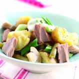 Tuna with Bashed Potatoes and Sour Cream Dressing