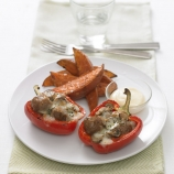 Red Pepper stuffed with Meatballs