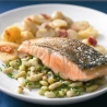 Switch 2 Canned Food with James Martin: Crisp Salmon with Minted Broad Bean Salad