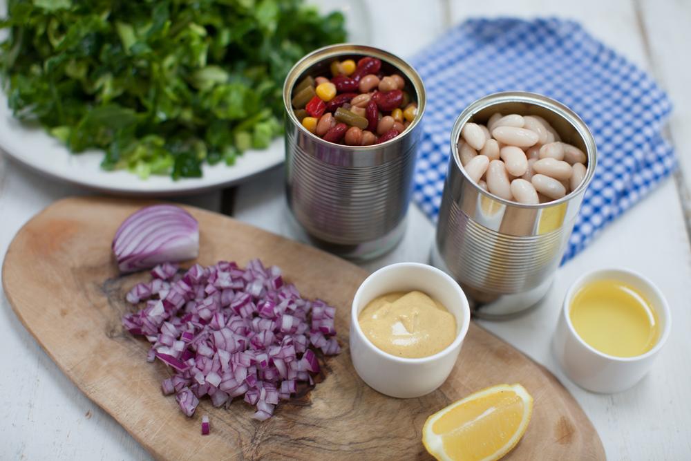 Warm Spring Greens and Mixed Bean Salad