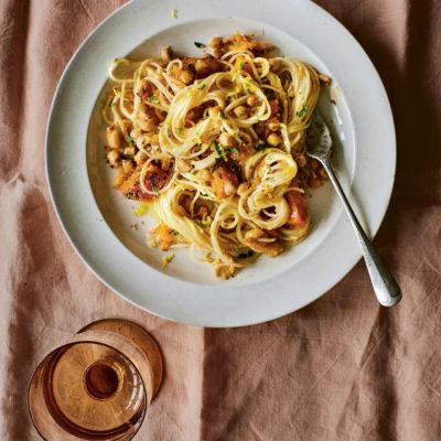 Roasted chickpeas & squash pasta