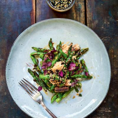 Mackerel Asparagus Salad with Sesame Vinaigrette.The Tinned Fish Cookbook.Credit David Loftus