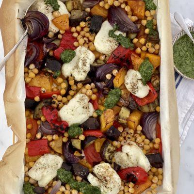 Halloumi Vegetable & Chickpea Traybake with Salsa Verde